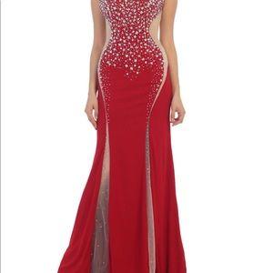 BN elegant prom full length red dress sz14